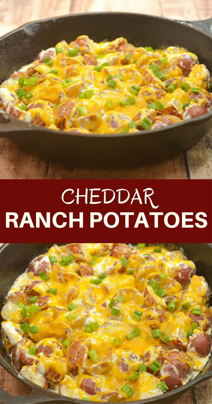 Cheddar Ranch Potatoes with rose potatoes, Ranch seasoning, sour cream, and cheddar. Creamy, cheesy, and a breeze to make with simple ingredients, they may very well be the best potato side dish ever!