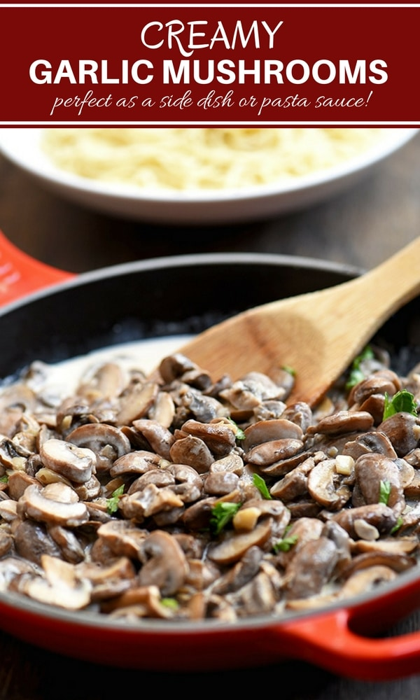 Creamed Mushrooms with a garlic-infused cream sauce. Perfect as a side dish or pasta sauce