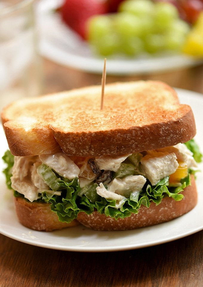 You'll love this delicious chicken salad sandwich with sweet apricots, cashews, celery, raisins and mayo-yogurt dressing.