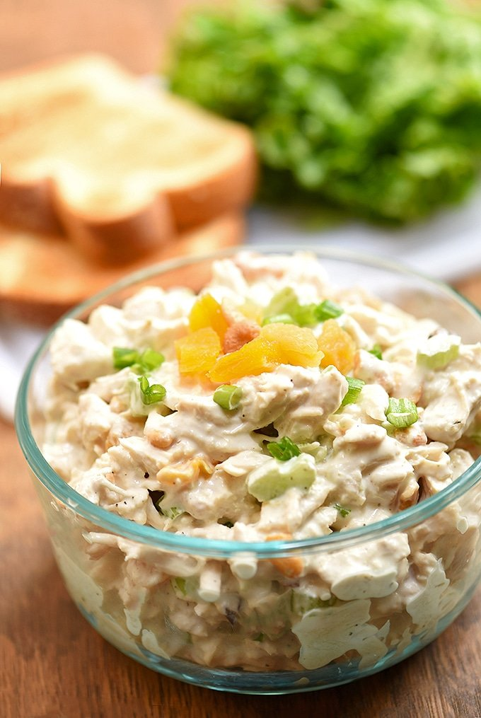 Serve up a delicious take on chicken salad with dried apricots and cashews.