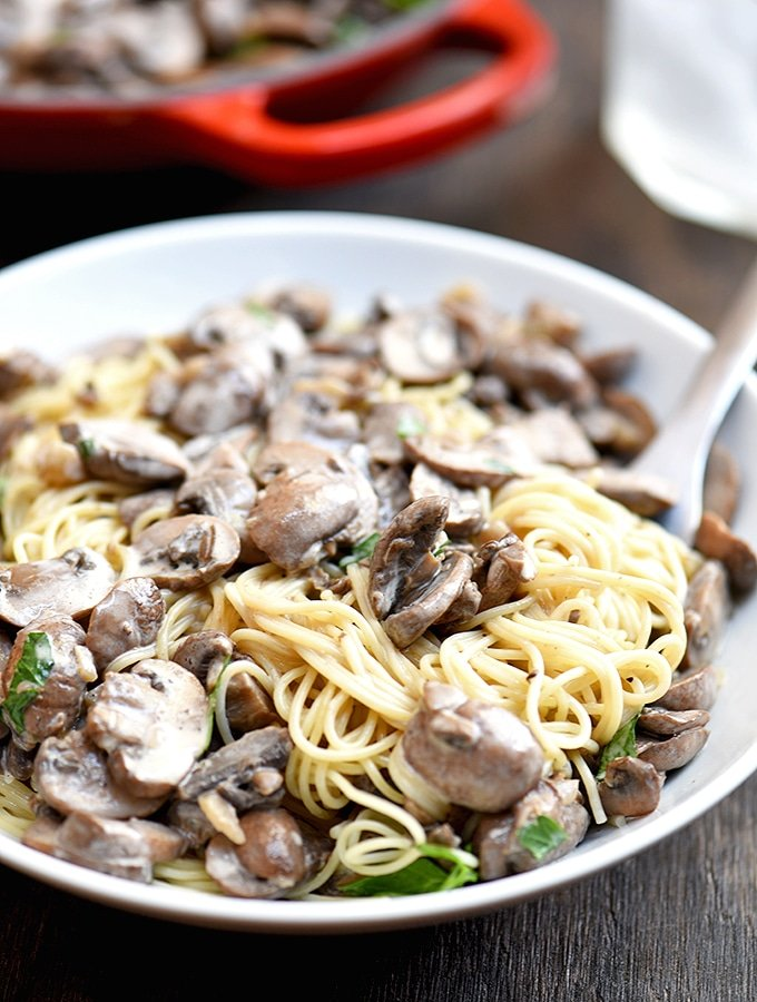 Creamy Mushroom Pasta with flavorful cremini mushrooms and garlicky cream sauce tossed with angel hair