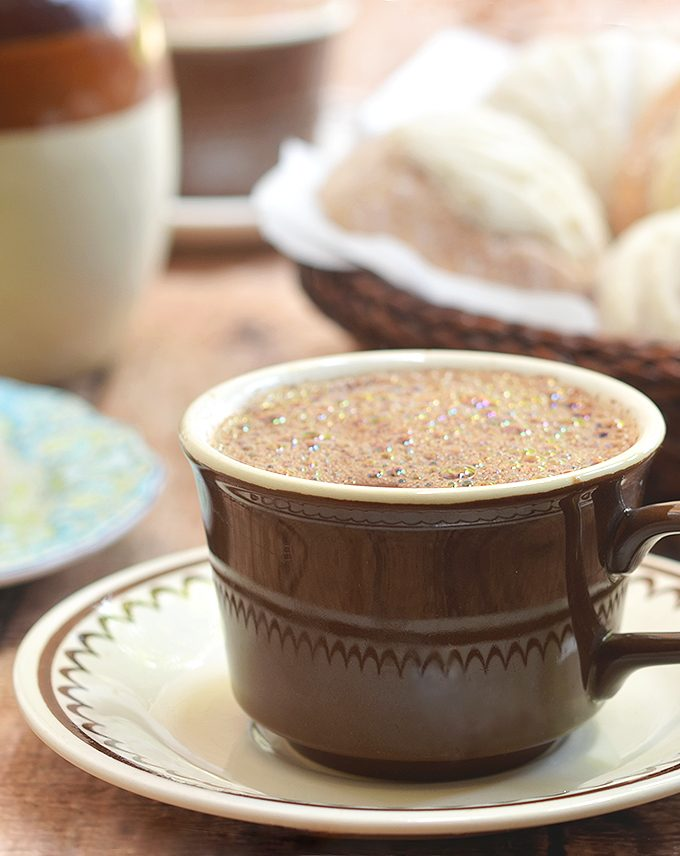 Mexican Hot Chocolate made of bittersweet chocolate, milk, and ground black pepper. Rich, creamy and decadent, it's the perfect way to warm up on cold winter days.