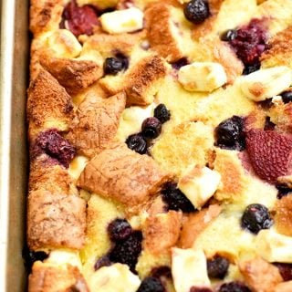 Mixed Berry French Toast Bake is easy to make and ready in an hour with no overnight chilling needed. With delicious pockets of berries and cream cheese, and topped with fruit sauce, it's perfect for breakfast or brunch.