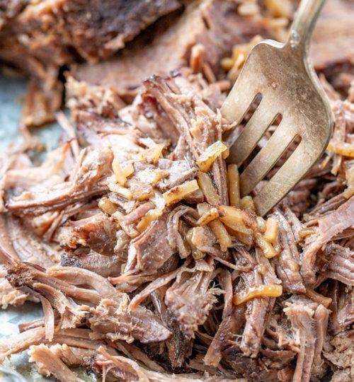 shredded beef roasted in foil