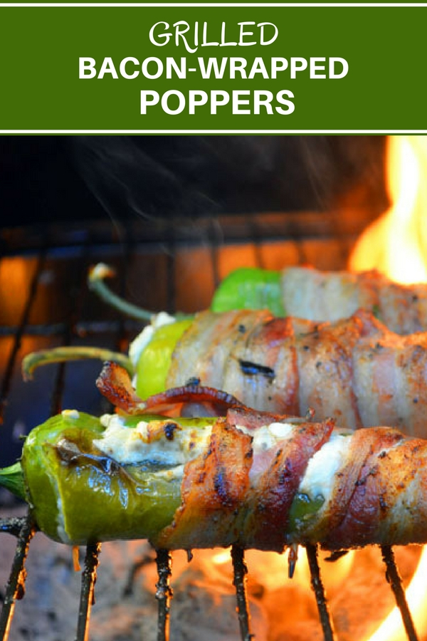 Grilled Bacon-Wrapped Poppers filled with cream cheese, wrapped in bacon, and then grilled to crisp perfection. A delicious medley of creamy, smoky and spicy flavors, they're seriously addicting! Get the easy recipe and helpful tips on how to make them perfectly!