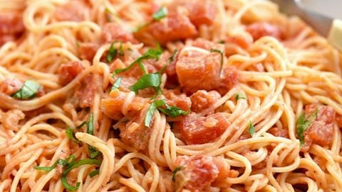 Angel Hair Pasta With Tomato Cream Sauce Onion Rings Things