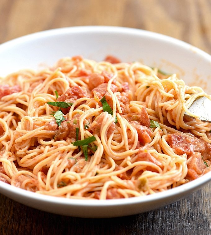 angel hair pasta with a creamy mascarpone and tomato sauce