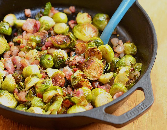 Roasted Brussels Sprouts with Garlic and Pancetta are smoky, crunchy, peppery, garlicky and like a party in your mouth!