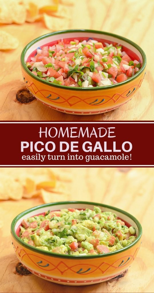 Homemade Pico de Gallo Recipe with fresh flavors from tomatoes, onions, jalapenos, cilantro and lime juice. Perfect as a dip as well as condiment for all your favorite foods. Easily turn it into guacamole with a few avocados!