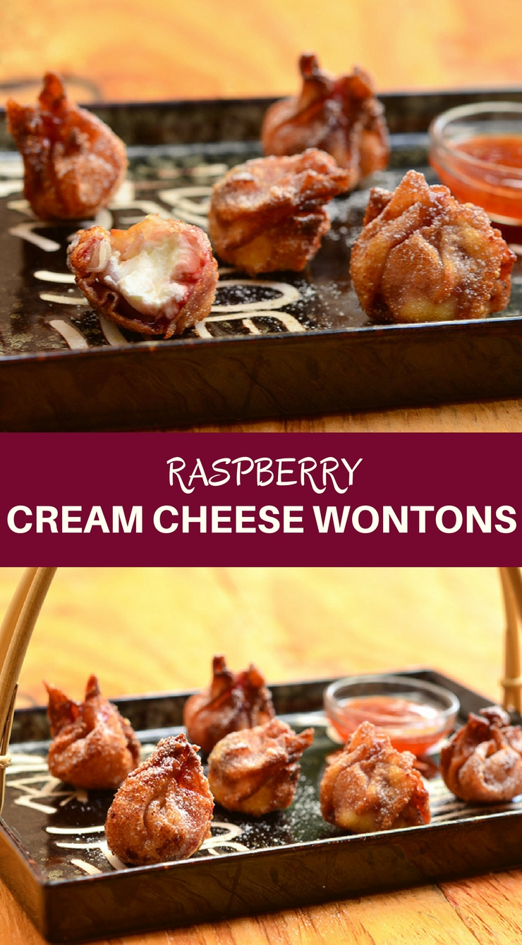 Raspberry Cream Cheese Wontons are what you need right now! Filled with sweet raspberry jam and creamy cream cheese, and then fried to a golden crisp, they're seriously addicting!