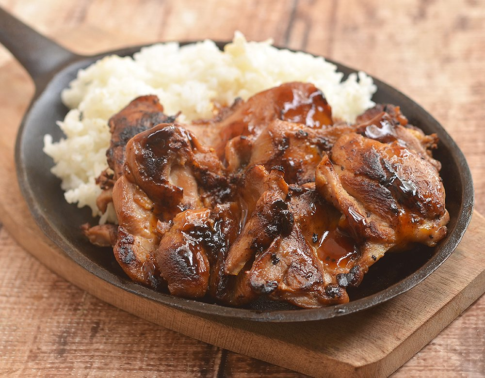 Sweet Mango Barbecue Chicken with a sweet and tangy marinade served with rice is a delicious summer BBQ dinner