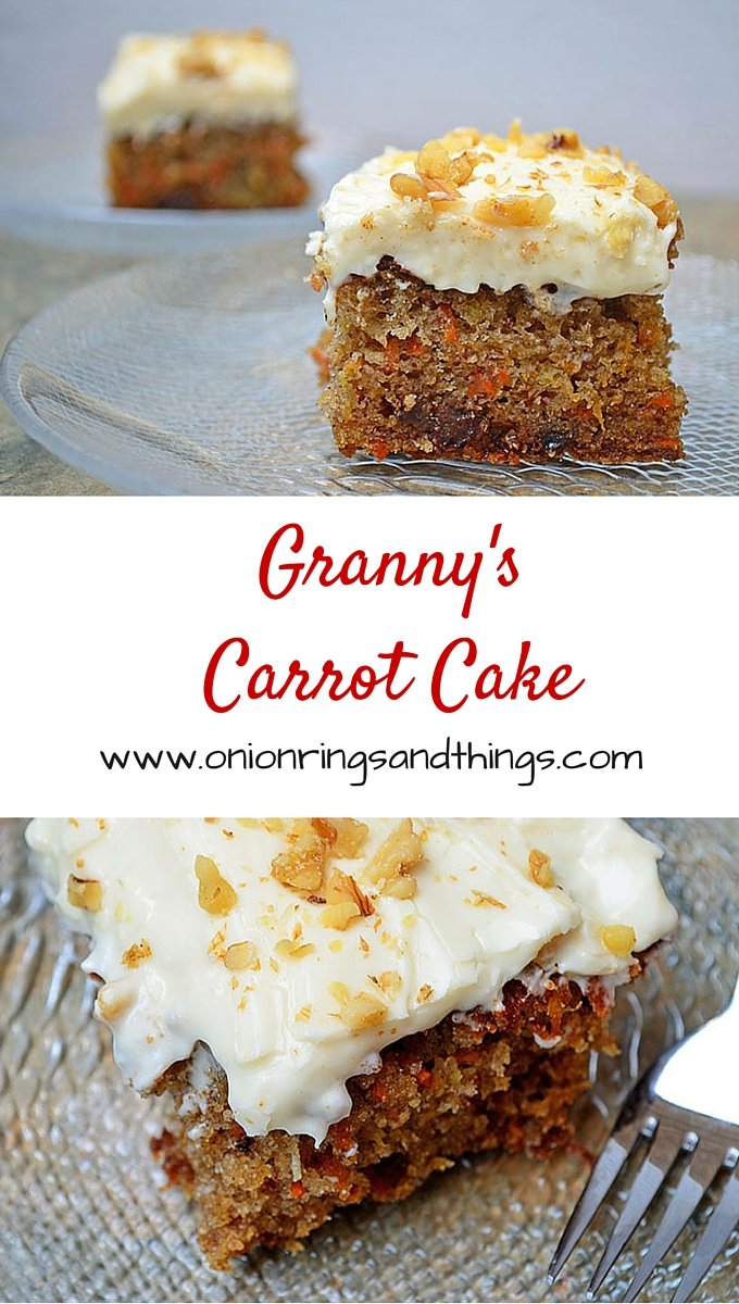 Granny's Carrot Cake is a super moist carrot cake with pineapples, nuts and raisins; topped with a delicious cream cheese frosting