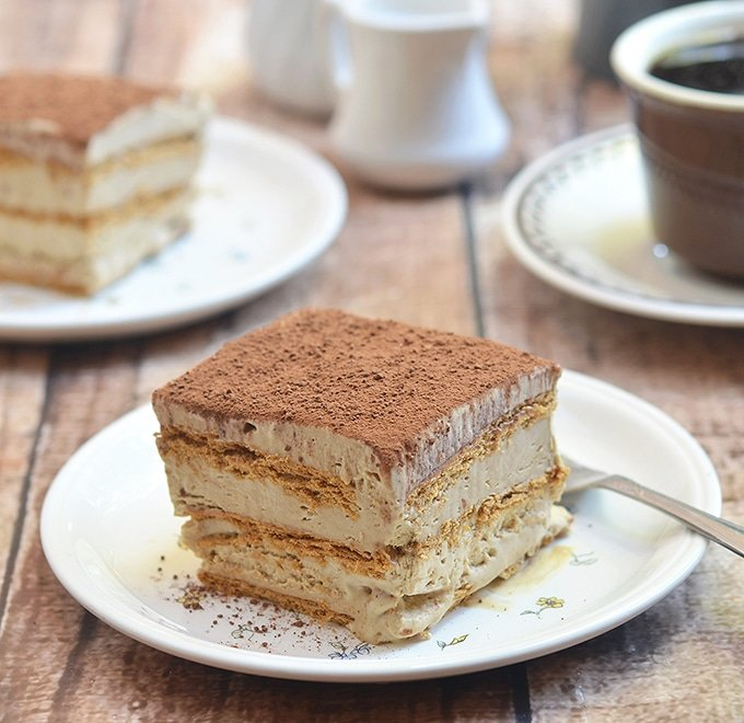 Icebox cake with graham crackers and coffee mousse layers