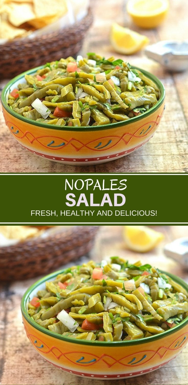 Nopales Salad made with prickly pear cactus, tomatoes, onions, cilantro, chili peppers, and lime juice, isanutrient-packedsalad you'll love. It's fresh, healthy and delicious!