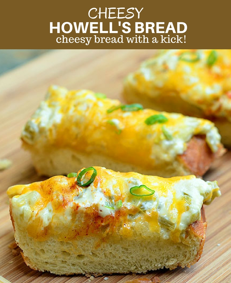 Howell's Bread with mayo, diced green chiles, and cheese on crusty French bread is quick and easy to make and perfect for feeding a crowd. With loads of cheesy goodness and a kick of spice, this cheesy bread is seriously addicting!