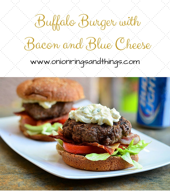 Buffalo Burger with Bacon and Blue Cheese is spiced with hot sauce and topped with bacon and a dollop of mayo-blue cheese dressing.