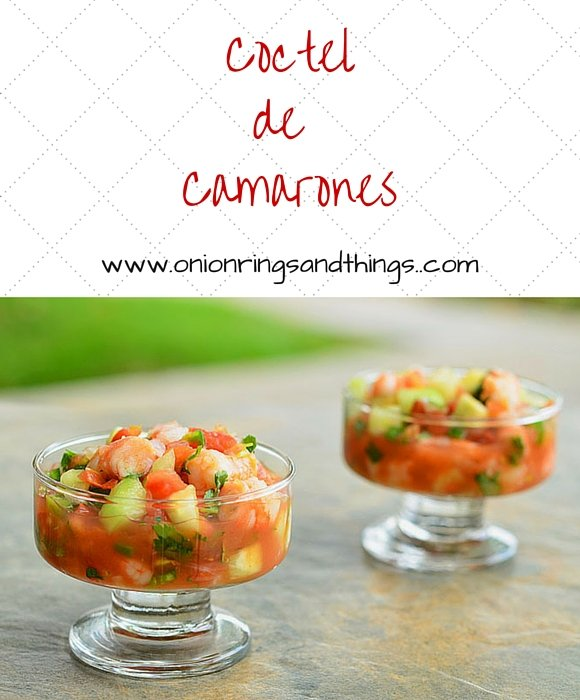 Coctel de Camarones is a delicious Mexican appetizer made with shrimps, tomatoes, cucumber, cilantro, lemon juice and ketchup