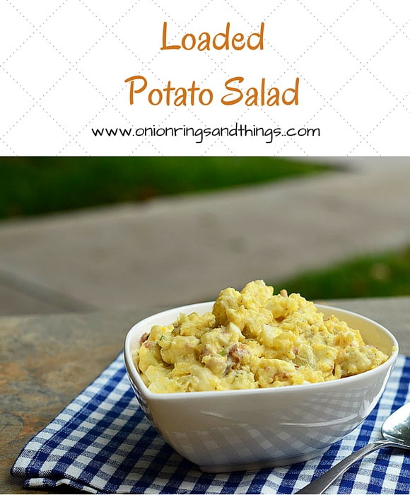 Chock-full of bacon crumbles, green onions, celery and eggs, this loaded potato salad is the best potato salad ever