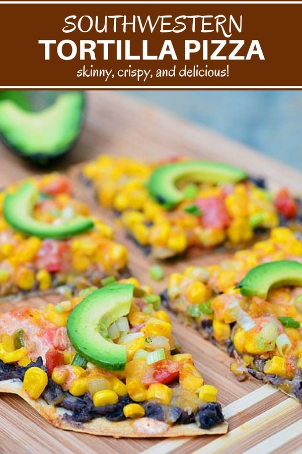 Tortilla Pizza topped with black beans, corn, and creamy enchilada sauce for Southwestern flavors