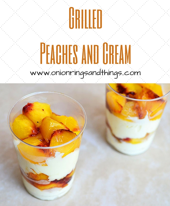 In this peaches and cream desset, fresh peach halves are marinated in balsamic vinegar and honey, grilled until caramelized and then topped with sweetened cream