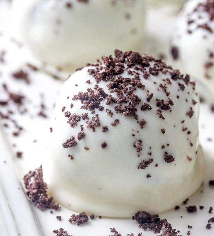 Oreo Truffle Balls sprinkled with cookie crumbs