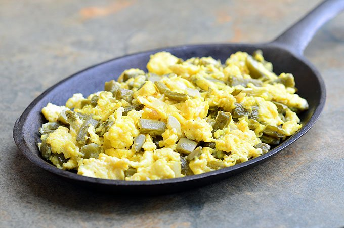 Nopales con huevos is a classic Mexican dish made with prickly pear cactus and scrambled eggs. Packed with protein and amazing nutrients, it's a nutritious and delicious breakfast you'll love waking up to!