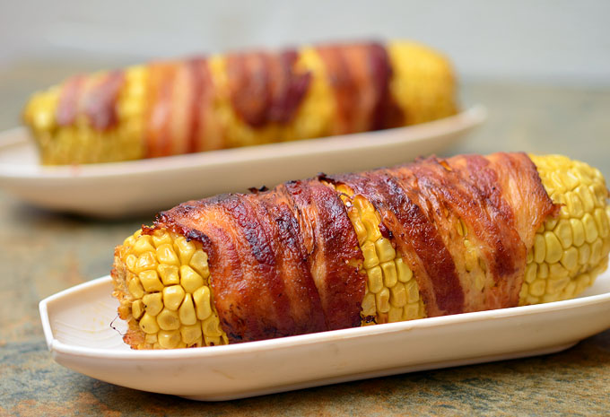 Bacon-wrapped Corn with Chipotle-Honey Glaze - Onion Rings ...