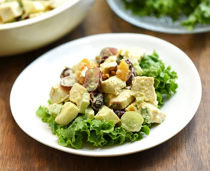 curry chicken and grape salad served on lettuce leaves