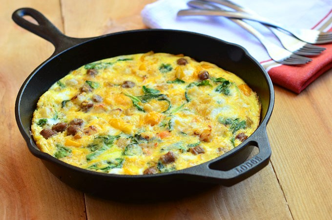 Sausage and Spinach Spanish Frittata