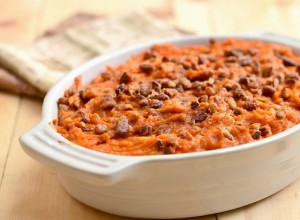 Sweet Potato Casserole with Rum Sauce and Candied Pecans