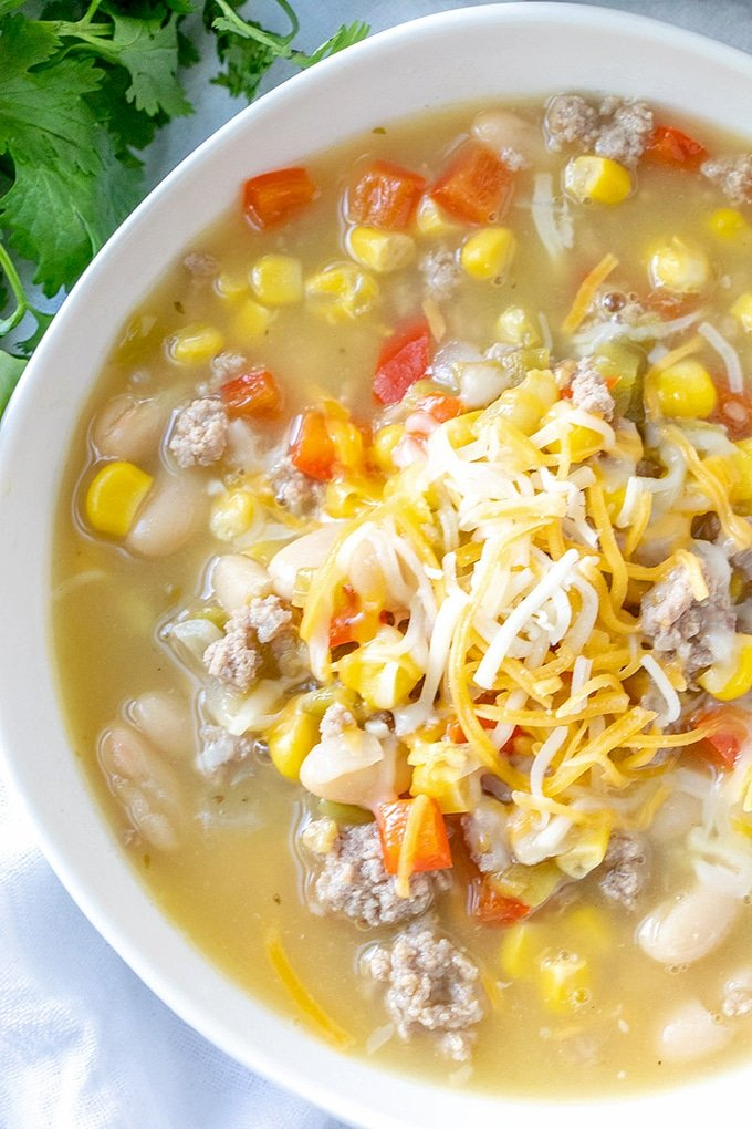 bowl of white bean turkey chili