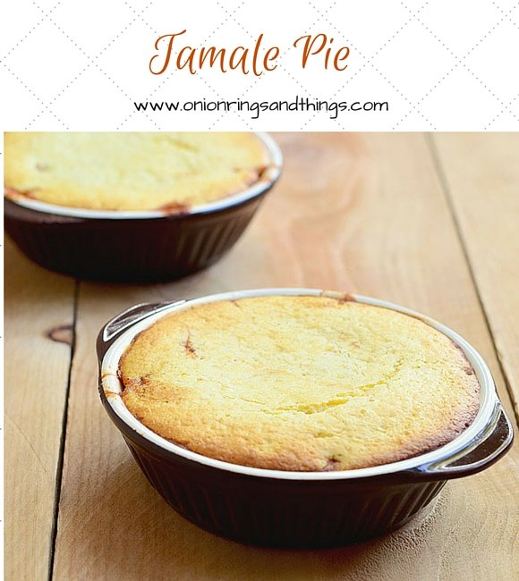 Tamale pie is a savory ground meat mixture baked into a casserole with a delectable layer of cornbread topping