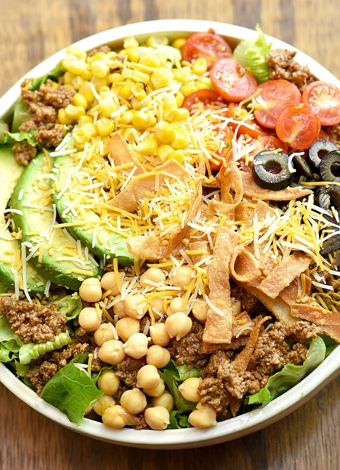 top view of a Taco Salad in a serving bowl