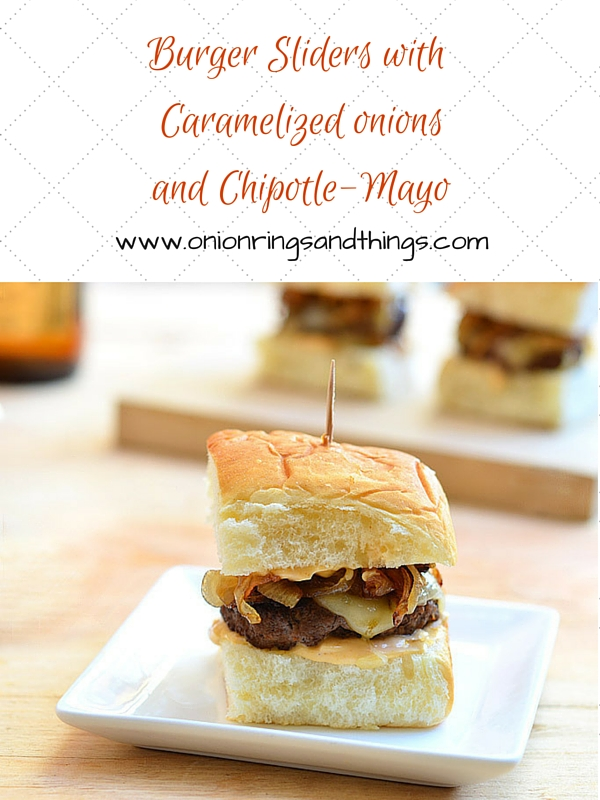 These burger sliders with caramelized onions and chipotle mayo pack awesome flavor and come in convenient size perfect game day