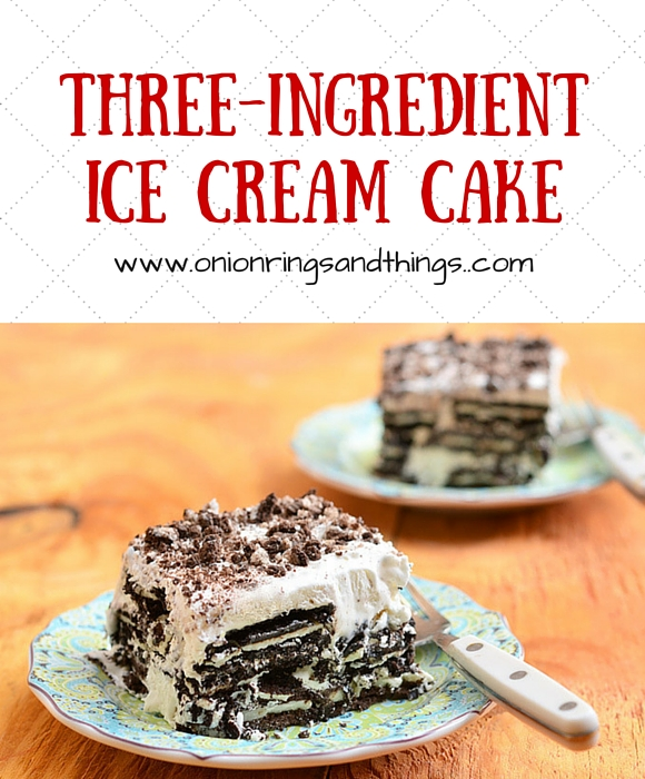 Oreo cookies, whipped cream and milk make a delicious three-ingredient ice cream cake treat