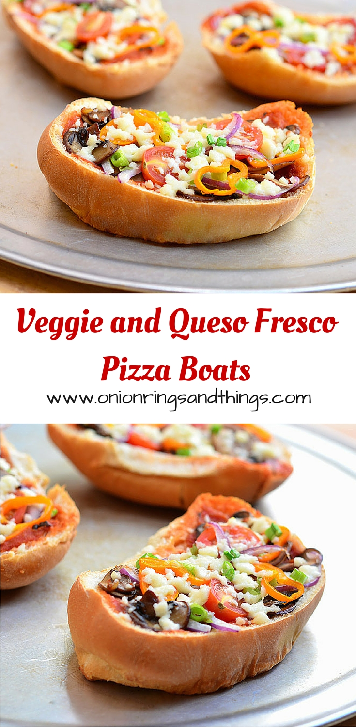 Veggie and Queso Fresco French Bread Pizza made with sauteed mushrooms, tomatoes, sweet peppers and fresh cheese