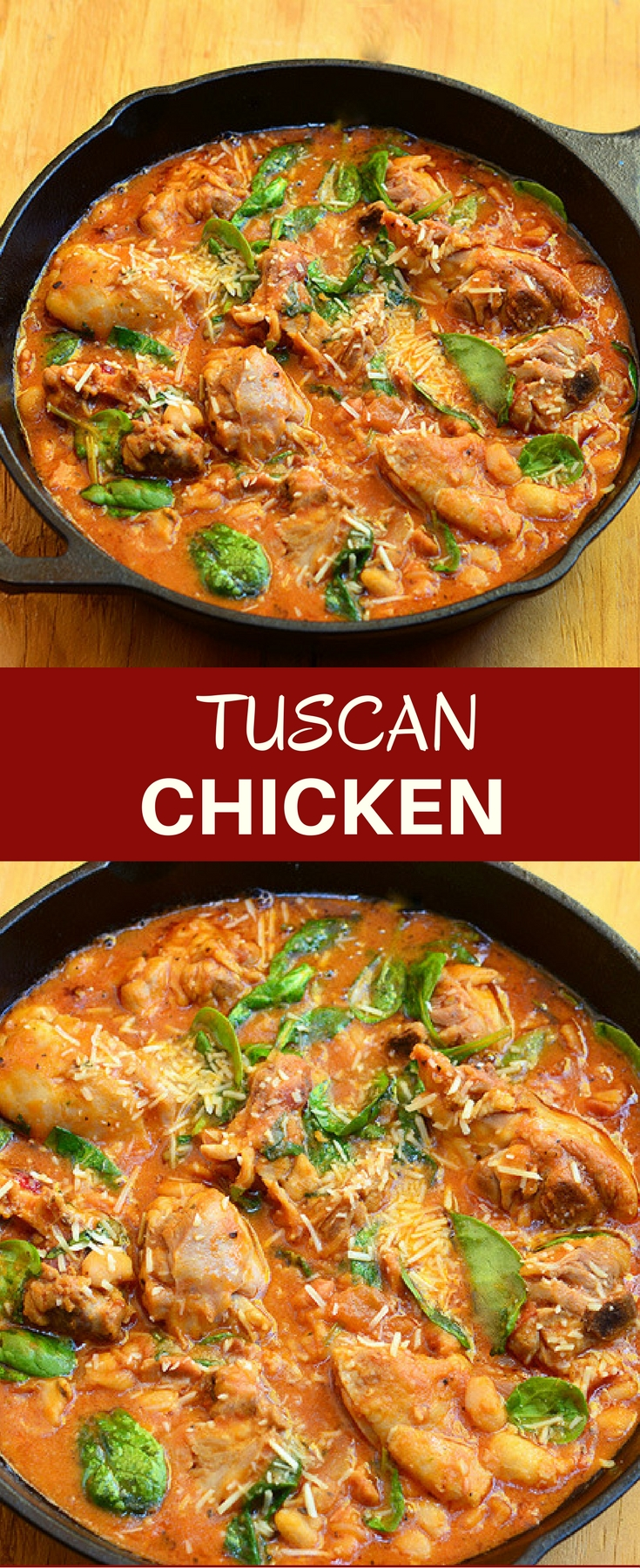 Tuscan Chicken with spinach, white beans, and an amazing tomato sauce. Hearty, delicious, and incredibly easy to make, it's a guaranteed to be a dinner favorite!