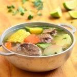 Caldo de Res made with beef shanks, potatoes, corn, and vegetables. This Mexican beef soup is hearty, delicious and the perfect comfort food!