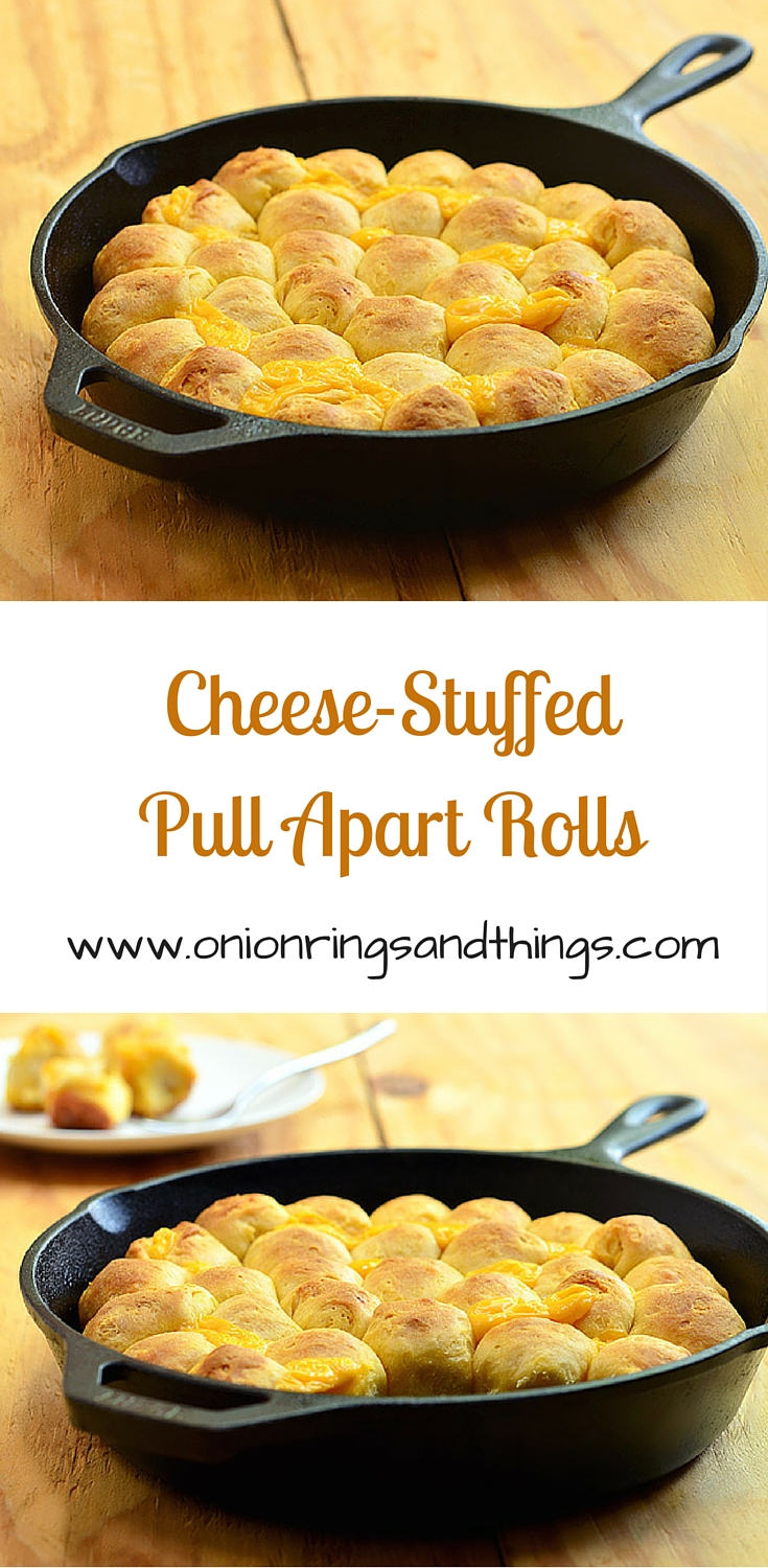 Cheese-Stuffed Pull Apart Rolls are stuffed with Velveeta cheese and then baked until golden in a skillet