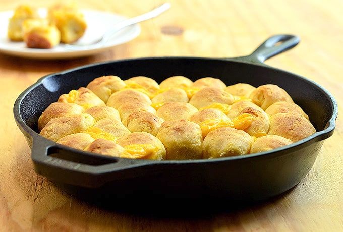 cheesy pull-apart bread baked in cast iron skillet