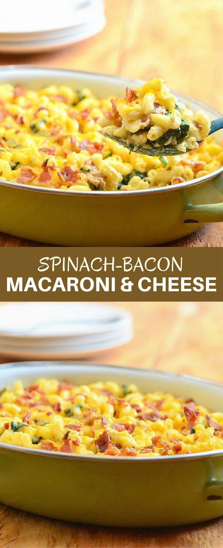 Spinach-Bacon Macaroni and Cheese is a grown-up take on a classic childhood favorite. Loaded with crisp bacon and spinach, it's hearty, delicious, and the ultimate comfort food!