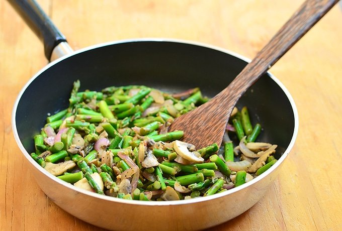 Asparagus, mushrooms, and red onions sauteed in butter