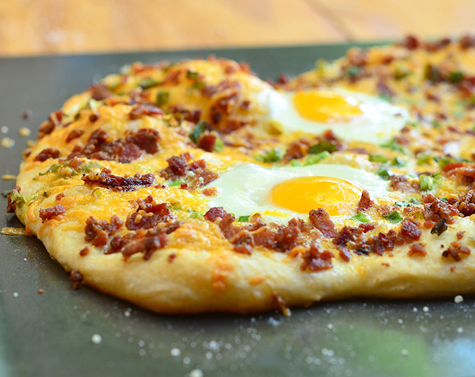 Breakfast pizza is a unique take on classic bacon and eggs.