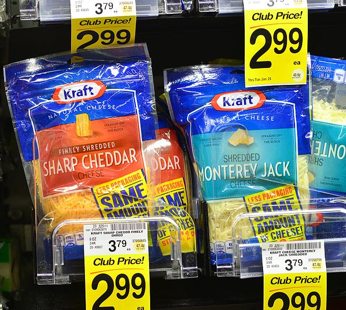 KRAFT natural shredded cheeses at Safeway