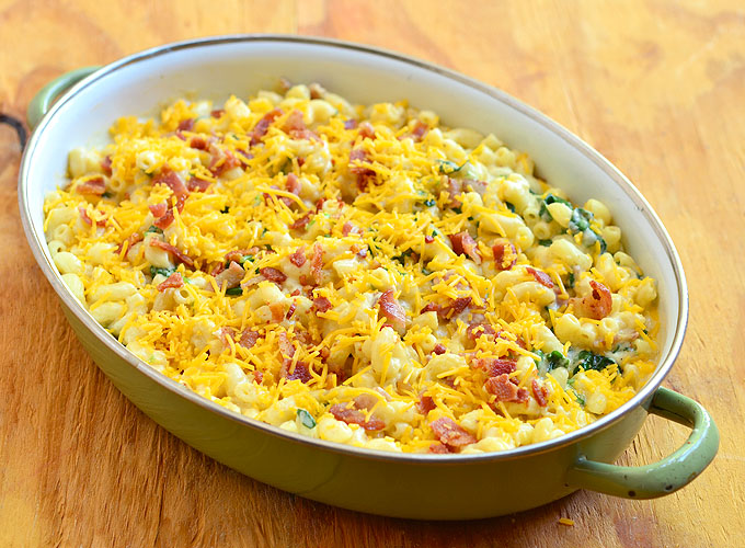 Macaroni and Cheese with Bacon and Spinach ready to bake in the oven. It's loaded with grown-up flavors you'll love