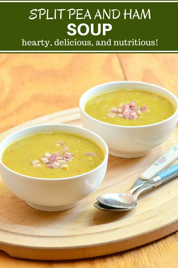 Split Pea Soup made with ham bone, carrots, celery and onions for amazing flavor. It's hearty, delicious, and nutritious comfort food!