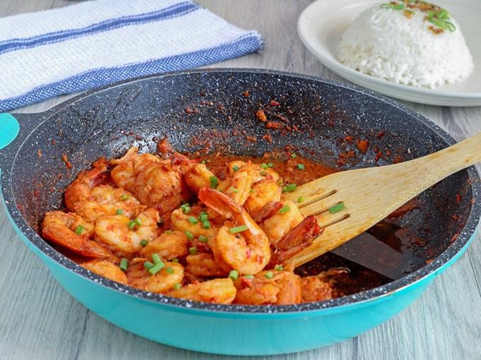 Chili Garlic Shrimp in a blue skillet
