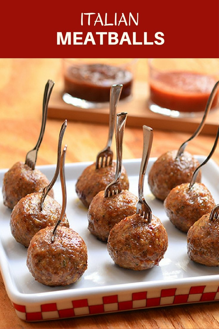 Italian meatballs perfect as party appetizers with dipping sauces or served over pasta with hearty marinara sauce. Learn the easy tips on how to make them super moist and flavorful!