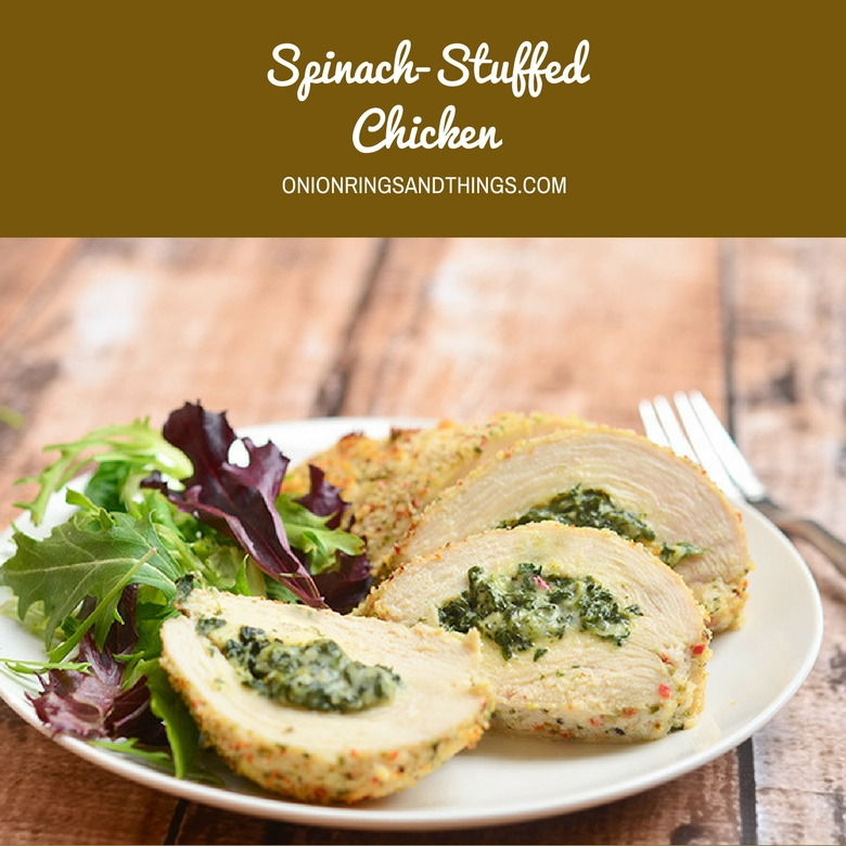 Spinach-stuffed Chicken filled with a creamy spinach filling, coated with Panko crumbs, and then baked until beautifully golden. Pair with your favorite side dish for a delicious weeknight dinner meal.