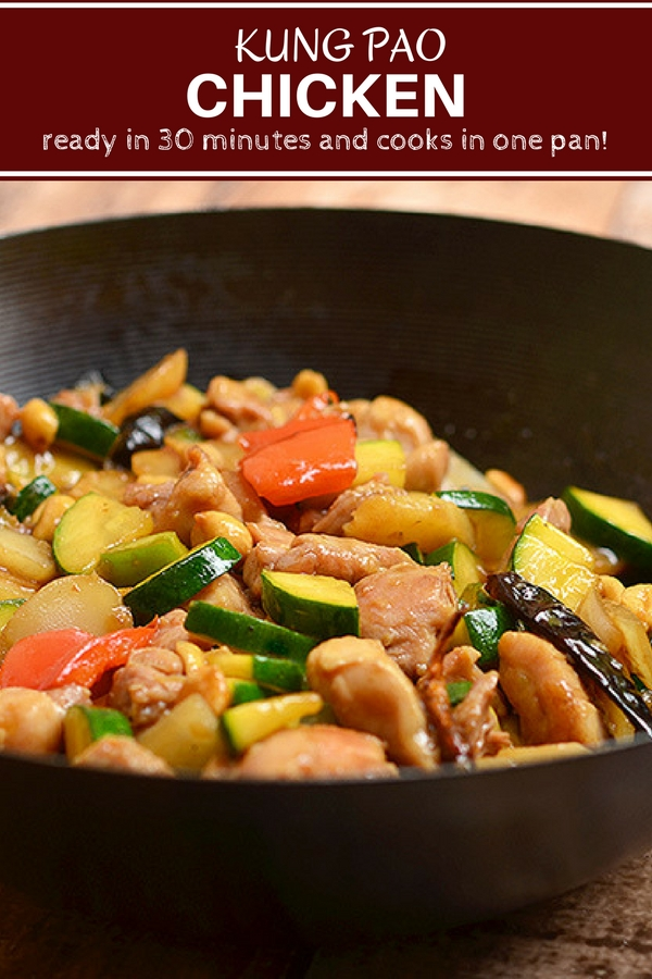 Easy Kung Pao Chicken Recipe is ready in minutes and cooks in one pan. With moist chicken, vegetables, peanuts, and peppers in a spicy sauce, it's loaded with bold flavors you'll love!